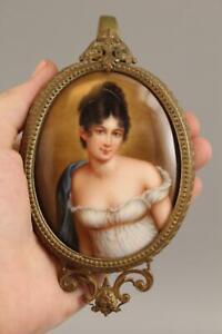 Antique 19thC German Miniature Porcelain Portrait Painting, Madame Recamier, NR