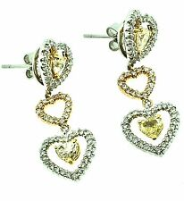 Three Hearts- White, Pink, Yellow- Diamond Dangle Earrings in 18k  - HM1703