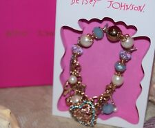 BETSEY JOHNSON GORGEOUS CRYSTAL HEART BRACELET CHARMS BLUE PEARLS GOLDTONE $36.