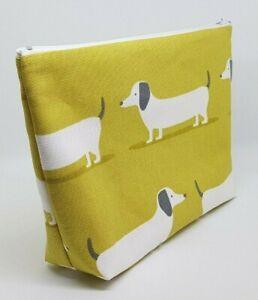 Gorgeous Sausage Dog Fabric Handmade Flat Bottomed Make Up Bag Sml Wash Bag