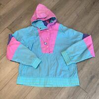 Eddie Bauer Windbreaker Jacket Womens Small Adult Blue Pink Vintage 90s Retro