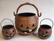 Pumpkin Jack-O-Lantern Metal Luminary Candle Holders Halloween Fall Set Of 3