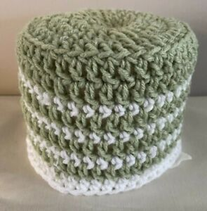Hand Crocheted Toilet Paper Cover Cozy -  Lime Green & White