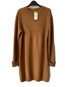 Pimkie Camel Tan Jumper Dress Long Sleeve Fine Knit L 14 16