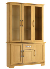 READY ASSEMBLED 3 DOOR LICHFIELD DISPLAY CABINET IN BEECH WITH LIGHTS MADE IN UK