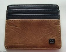 NWT MENS BILLABONG DIMENSION TAN NAVY FAUX LEATHER CARD HOLDER WALLET NEW