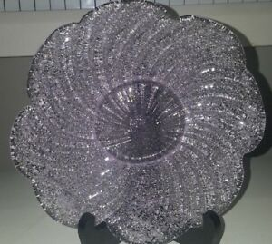 TWO LIGHT PINK MURANO SANDED EXTERIOR GLASS SALAD PLATES AND ONE FREE BOWL