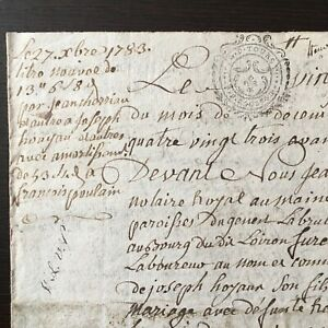 Manuscrit Acte Notarié Rente 1783 Généralité de Tours - XVIIIè 18thC Handscript