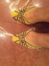 Women yellow Bottega Veneta velvet nots slink back shoes size 38(us8)