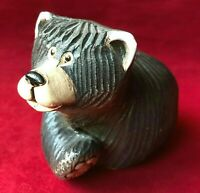 "Artesania Rinconada Hand Carved Black Bear Ceramic Figurine 3.5"" Uruguay No. 157"