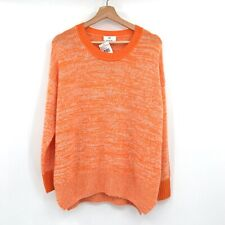 NWT ALLUDE Speckled Cashmere Sweater In Clementine Tweed marled orange M cozy