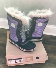 Used girls sorel boots size 3 Purple/navy
