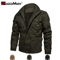 Mens Winter Fleece Hooded Warm Jacket Cargo Multi-Pockets Windbreaker Coats Man