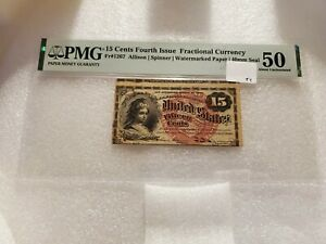 15 Cents Fourth Issue Fractional Currency Fr#1267 PMG 50 About Uncirculated