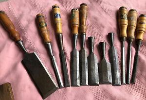 11-Antique Woodworking Chisels Berg Eskilstuna Sweden (8) & (1) Germany & 2 +
