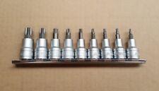 "TENG TOOLS TORX BIT SOCKET SET TX 9 Pc 1/2"" Dr TX20 - 60 on Socket Rail M1213TX"