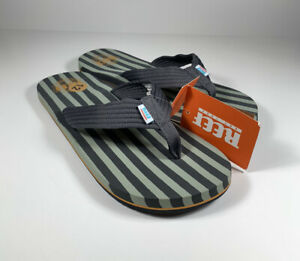 REEF Original Stripes Cushioned Flip Flop Sandals Gray Green Men's Size 12 *NEW*
