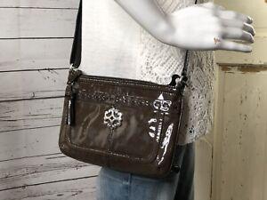 BRIGHTON Chocolate Brown Patent Leather Organizer Crossbody with Tassel Small