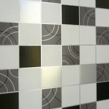 Kitchen / Bathroom Dotty Wallpaper - Black White and Silver Tile 2670