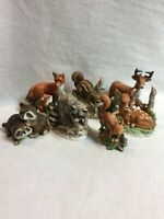 Homco w/Others Animal Figurines - Set of 7 - Chipmunk/Raccoon/Fox/Fawn/Deer