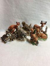 Homco w/Others Animal Figurines - Set of 7 - Chipmunk/Raccoon/Fox/Fawn /Deer