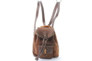 GUCCI suede bamboo mini backpack tea brown leather