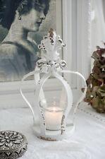 Chic Antique Teelichthalter Krone Metallkrone Weiß Shabby Chic Vintage Landhaus