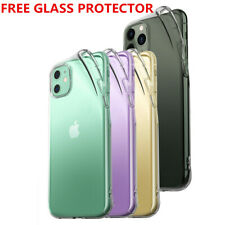 For iPhone 11 XR 7+ X Case Clear Thin Soft TPU Cover With Glass Screen Protector