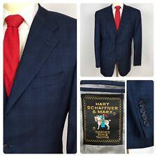 HART SCHAFFNER MARX 44L Slim Fit Blue Glen Plaid Sport Coat Jacket USA Long