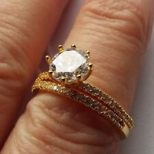 Diamonique 1.3ct tw Set of 2 Solitaire & Eternity Ring Size O Gold Plate NEW