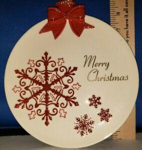 Dessert Plate Merry Christmas Snowflake Theme 8in 454110