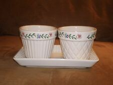 Longaberger 2000 Mother's Day Early Blossoms Flower Pots & Tray - Made in Usa