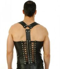 New Genuine leather Buckled Vest Lace Up Style Zip top Jacket Mens Fetish Gay