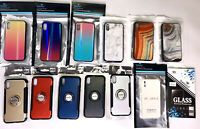 WHOLESALE LOT IPHONE XS FASHION CASES MARBLE IRIDESCENT RING CASE MIXED DESIGNS