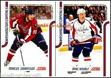2x SCORE 2011 MARCUS JOHANSSON #458 MIKE KNUBLE #463 CAPITALS MINT GLOSSY LOT