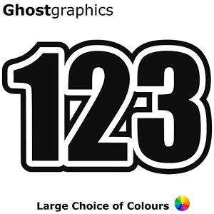 "3 x 7"" Race Numbers Vinyl Stickers Decals Motocross MX Track Bike Kart N2 180mm"
