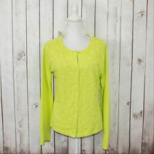SHANGHAI TANG Women's Knot Button Cardigan Floral Embroidered Lime Green