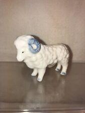 Vtg Mid-century Miniature Ram Aries Sheep Porcelain Figurine Country Farm Decor