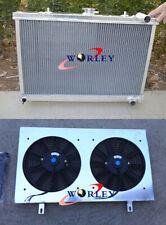 2 row FOR NISSAN SKYLINE S13 CA18 R32 RB20 MT aluminum radiator & shroud & fans