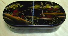 Black Lacquer Gold Damascene Plaque Mirrored Trinket Pipe Box Vintage Japanese