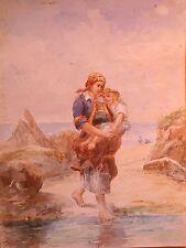 AQUARELLE-RAMASSEUSE DE COQUILLAGES-ENFANT-BRETAGNE-BORD DE MER-PLAGE-E. PUYON-