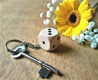 Wooden Dice Keyring, Handmade Novelty Key Chains for Her