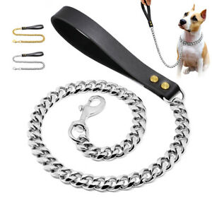 Cuban Link Chain Dog Lead Leash with Leather Handle 19mm Thick Heavy Duty Gold