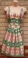 SUNDAY IN BROOKLYN GREEN PINK ABSTRACT FLORAL ZIP BACK SKATER SUMMER DRESS XS 6