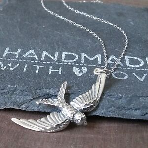 Bird Pendant Necklace-925 Sterling Silver