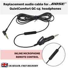 QC15 Cable for BOSE Headphones with microphone & volume buttons fits QC2 + mic