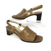"Cole Haan Women's 7B Strap Back 2"" Heels Open Toe Tan Leather Italy"