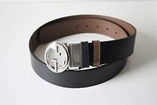 Gucci Ceinture en Cuir Unisexe 449715 Gr. 105 Noir Marron Argent