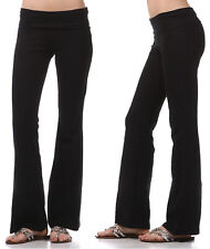 YOGA Pants Flare Leg Long Fitness Foldover Waist Womens Workout Gym Zenana