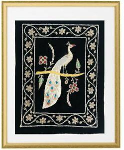 Zari Embroidered and thread Peacock on Black velvet background